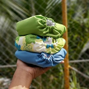3pc One Size Pocket Bundle – Turtle  Sea/Deep Blue/Apple Green