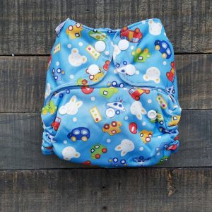 3pc One Size Pocket Bundle – Blue Cars/Green Apple/Baby Blue
