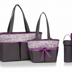 Diaper Bags Family Set – Purple Flowers