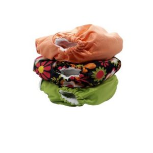 3pc One Size Pocket Bundle – Coral/Black Flowers/Apple Green