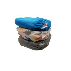 3pc One Size Pocket Bundle –  Blue/Dinosaurs/Grey