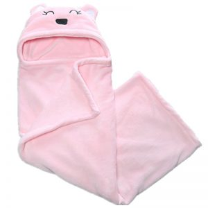 Baby Pink Hooded Plush Blanket