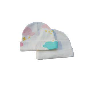 2pc Newborn Hat Set – Girl Cloud/Ivory