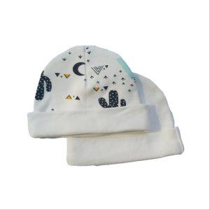 2pc Newborn Hat Set – Teepee Tent with Ivory Fold /Ivory